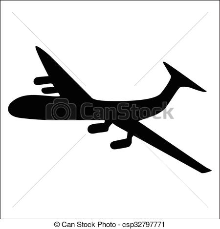 450x470 Planes Black Silhouette Isolated On White Background Vectors