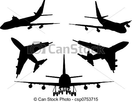 450x347 Various Silhouettes Of Airplanes Stock Illustrations