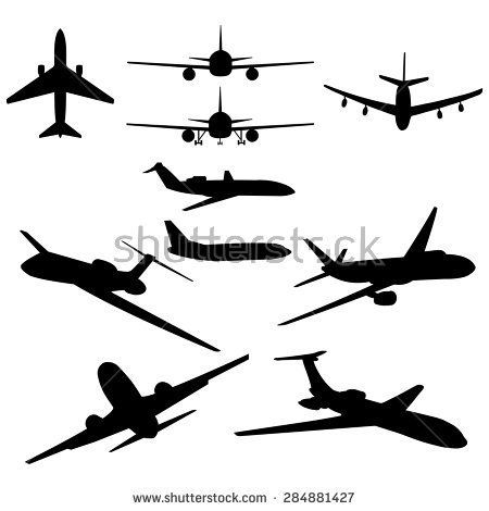 450x470 Vector Set Of 10 Black Plane Silhouette Clip Art