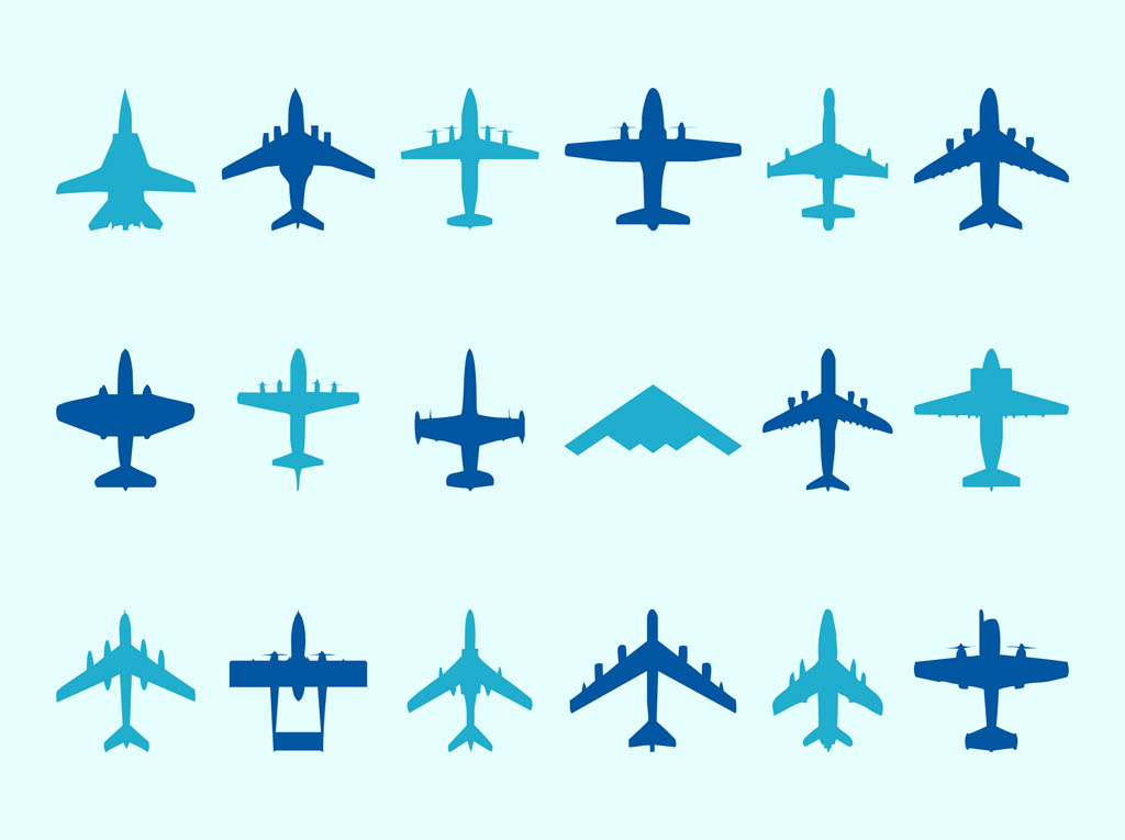 1024x765 Airplane Silhouettes Set Vector Art Amp Graphics