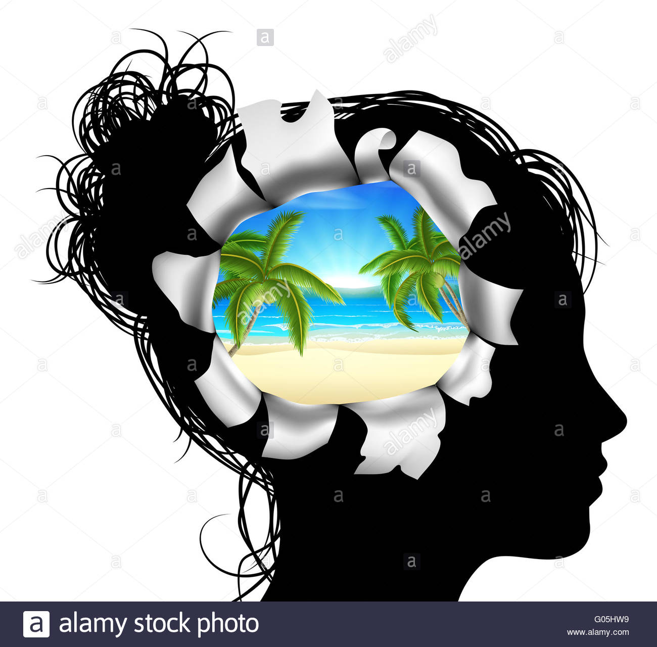 1300x1280 A Womans Head In Silhouette With A Tropical Beach Vacation Scene