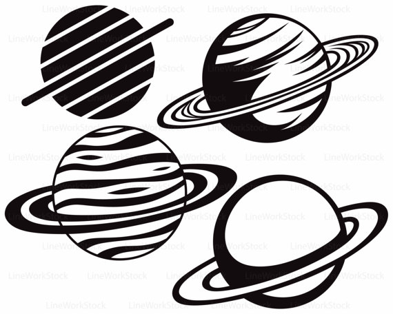 570x456 Planet Saturn Astronomy Sky Space Vector Monogram Svg Dxf