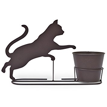 355x355 Plant Pot And Stand With Playful Kitten Silhouette Amazon.co.uk