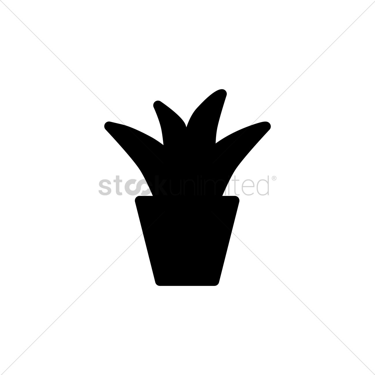 1300x1300 Silhouette Of Potted Plant Vector Image
