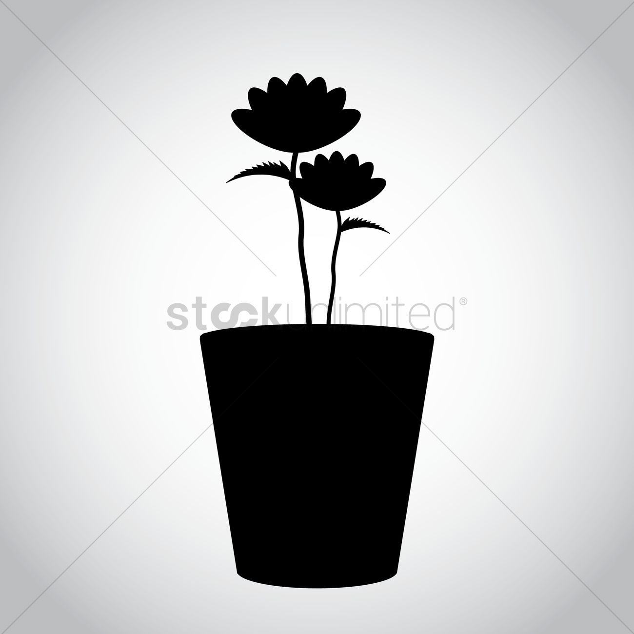 1300x1300 Silhouette Of Potted Plant With Flowers Vector Image
