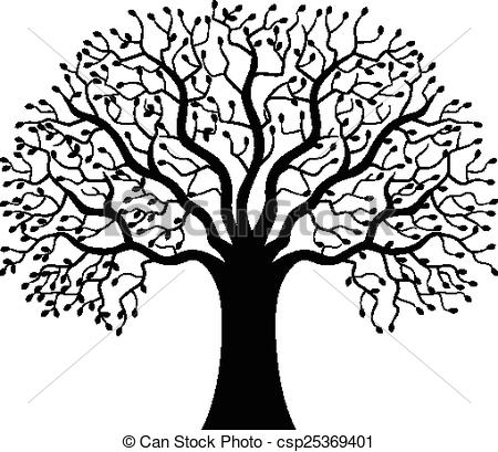 450x409 Vector Illustration Of Tree Silhouette Cartoon Vector Clipart