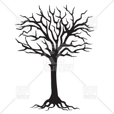400x400 Hand Drawn Black Silhouette Tree With Roots Royalty Free Vector