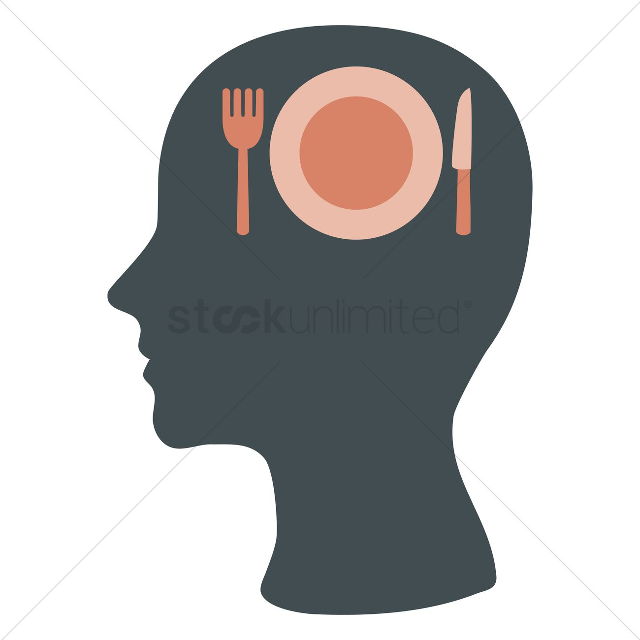 1300x1300 Human Head Silhouette With Cutlery And A Plate Vector Image