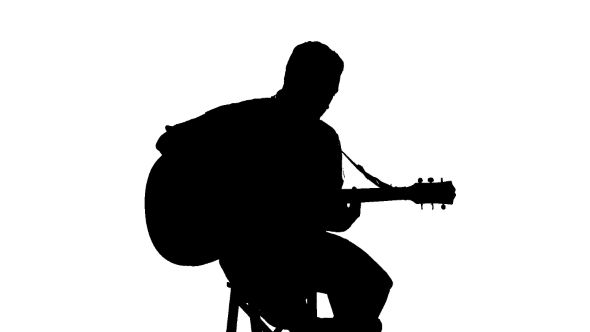 590x332 Silhouette Of Sitting Man Playing The Guitar On A By Lovevision