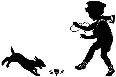 400x264 Of A Boy And Dog Playing With A Top