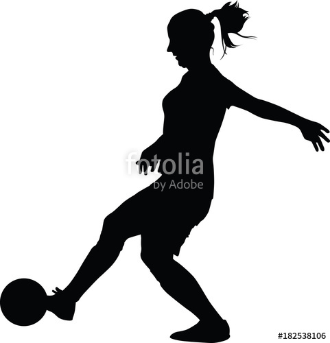 481x500 Soccer Women Silhouette. Girl Play Soccer Stock Image And Royalty