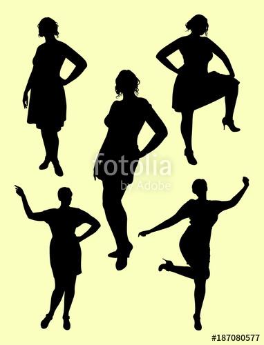 382x500 Plus Size Woman Silhouette 04. Good Use For Symbol, Logo, Web Icon