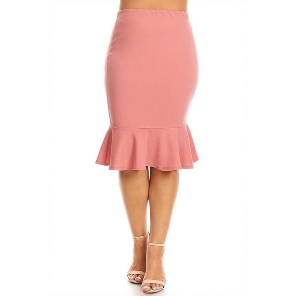 600x600 Women's Plus Size Solid Mermaid Silhouette Skirt