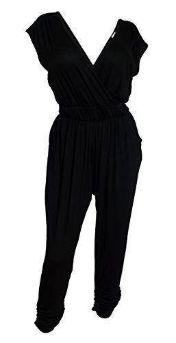 257x500 Evogues Plus Size Deep V Neck Jumpsuit Black