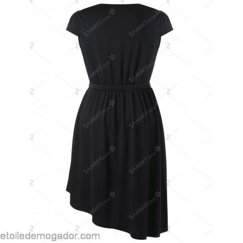 500x500 Cap Sleeve Plus Size Asymmetric Hem Dress