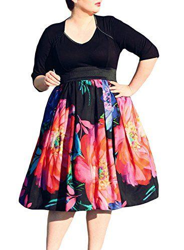 367x500 Farysays Womens Floral Printed High Waist A Line Skirt Flared