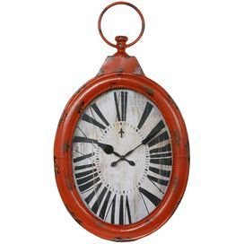 272x272 Iron Wall Clock With An Antiqued Orange Finish And Pocket Watch