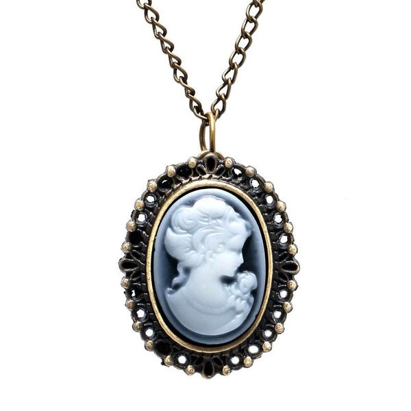 600x600 Country Woman Silhouette Antique Pocket Watch Necklace Barkin