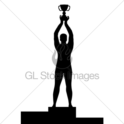 500x500 Man Silhouette On Podium Holding A Championship Trophy Gl Stock