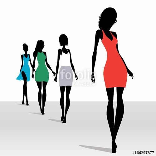 500x500 Model Silhouettes Walking On The Podium Stock Image And Royalty