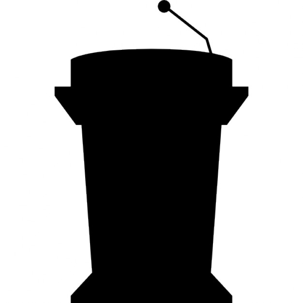 626x626 Podium Silhouette With Microphone For Presentation Icons Free