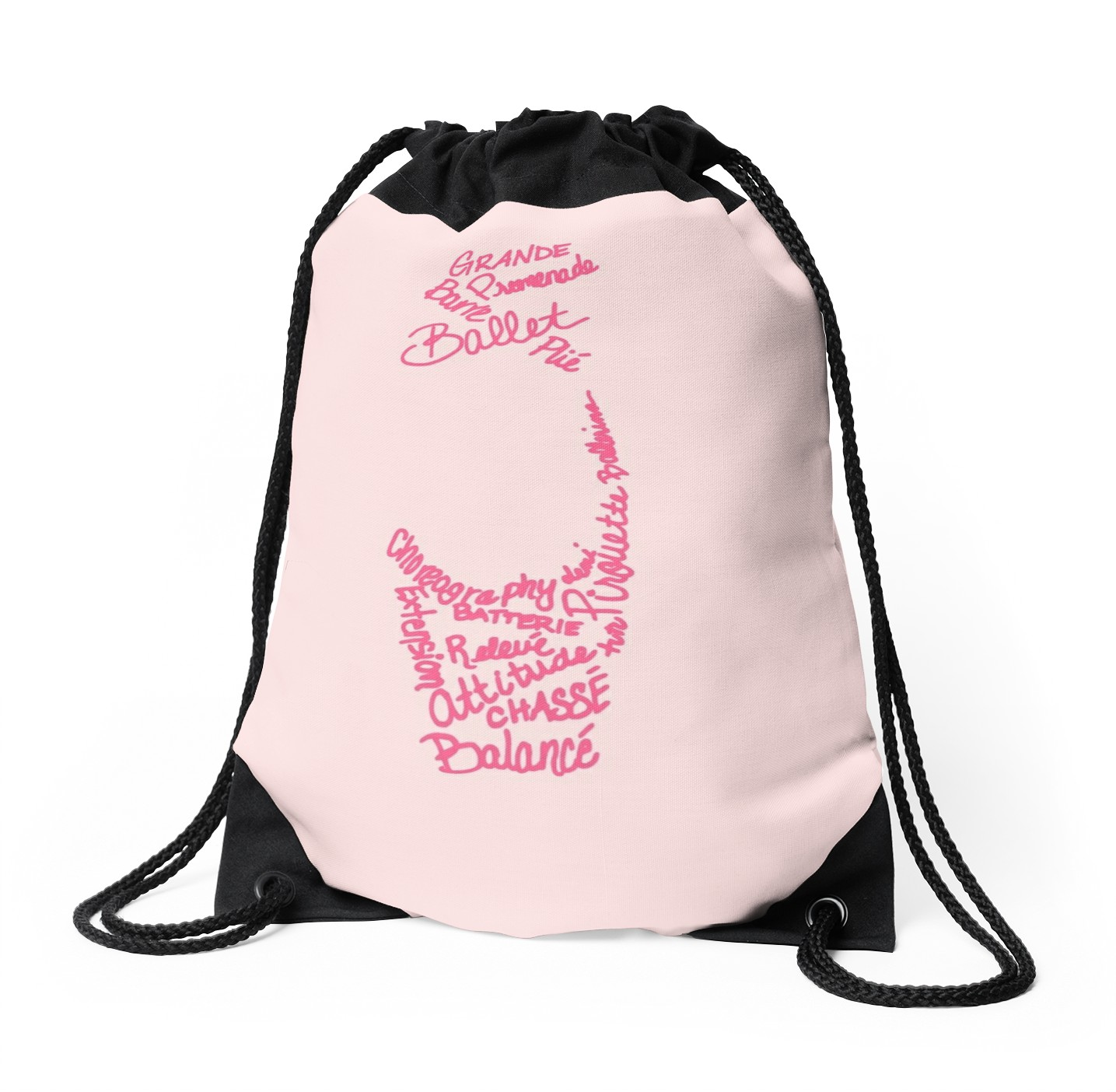 1435x1404 Pink Ballet Pointe Shoe Silhouette Filled Term Words Drawstring