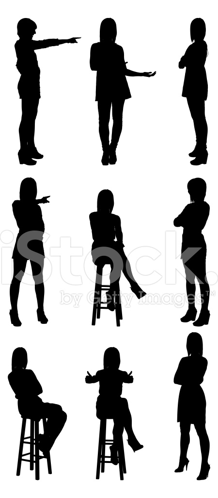 450x1024 Woman Silhouettes Pointing And Gesturing Stock Vector