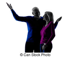 240x194 Couple Senior Happy Pointing Silhouette. One Caucasian Stock