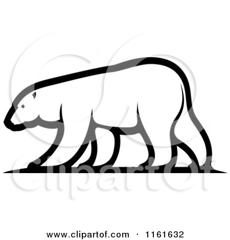 450x470 Clipart Of A Walking Polar Bear In Profile