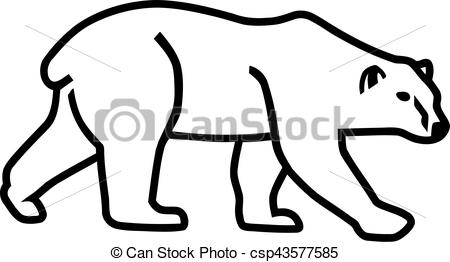 450x262 Polar Bear Silhouette Outline Vector