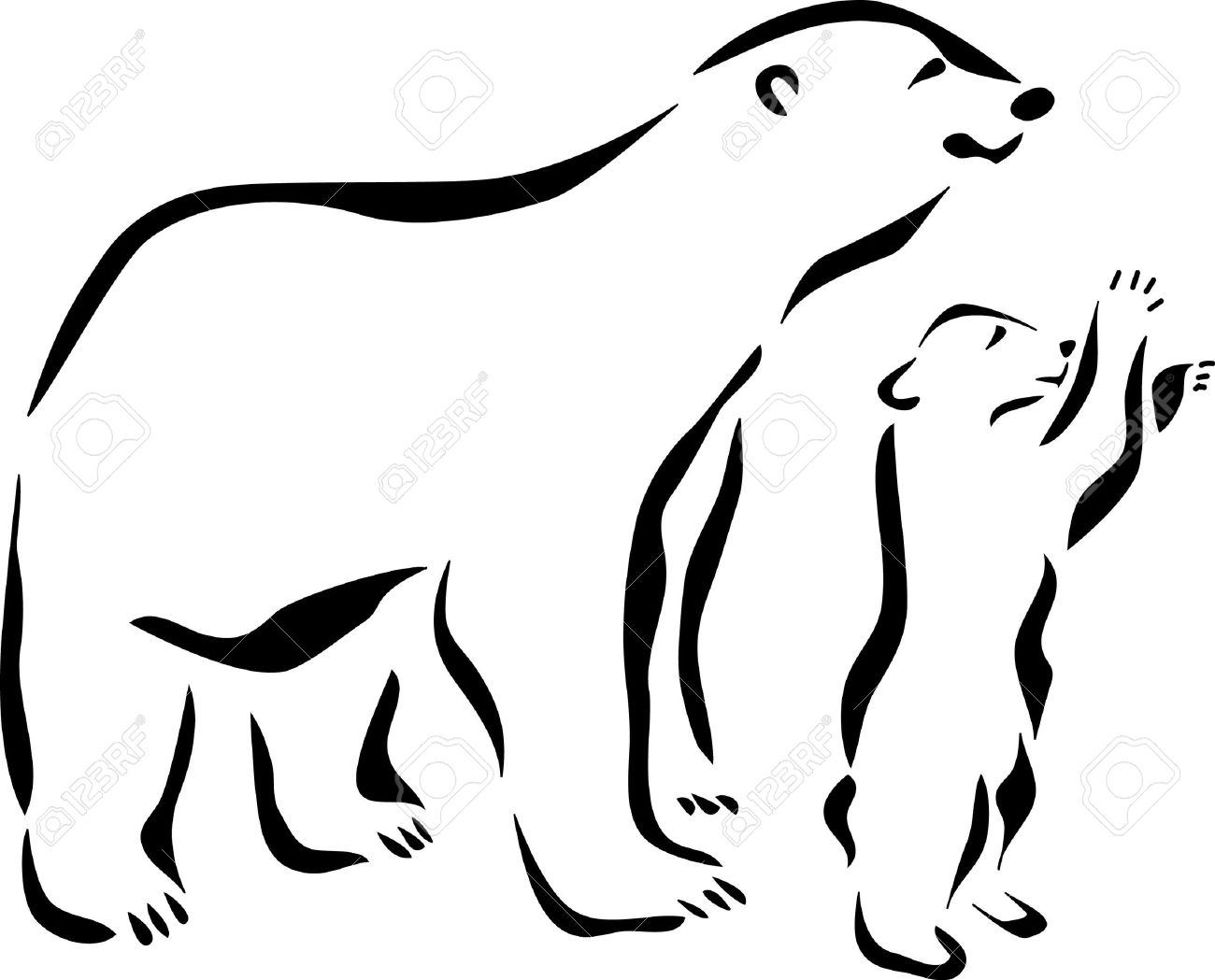 1300x1049 Amazing Outline Polar Bear With Baby Polar Bear Tattoo Design