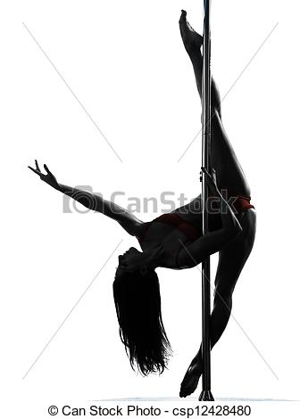 336x470 Woman Pole Dancer Silhouette. One Caucasian Woman Pole Pictures