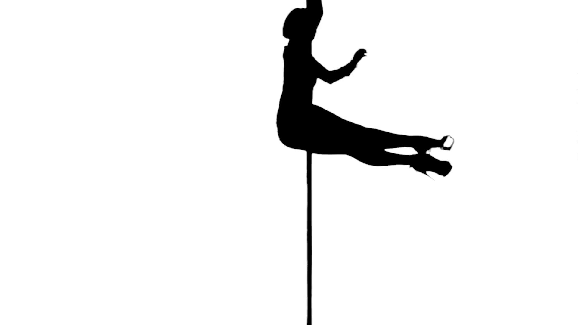 1920x1080 One Caucasian Woman Pole Dancer Dancing In Silhouette Studio