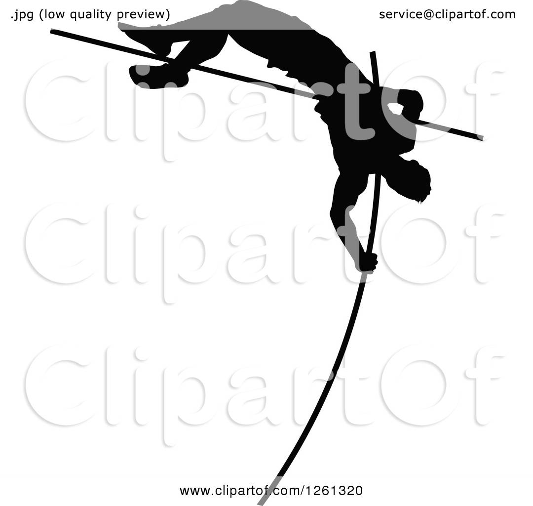 1080x1024 Clipart Of A Black Silhouetted Male Athlete Pole Vaulter