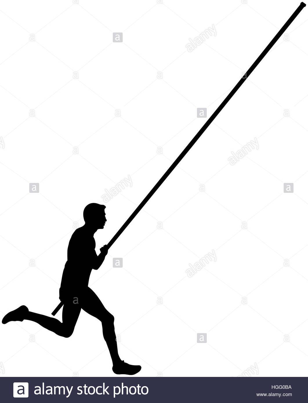 1062x1390 Black Silhouette Running Athlete Male Pole Vault Stock Photo