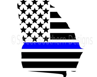 340x270 Svg, Dxf, Eps Cut File Police Shield Badge Flag Thin Blue Line Svg