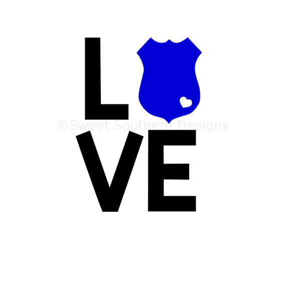 570x570 Love Police Badge With Heart Svg Dxf Pdf Instant Download