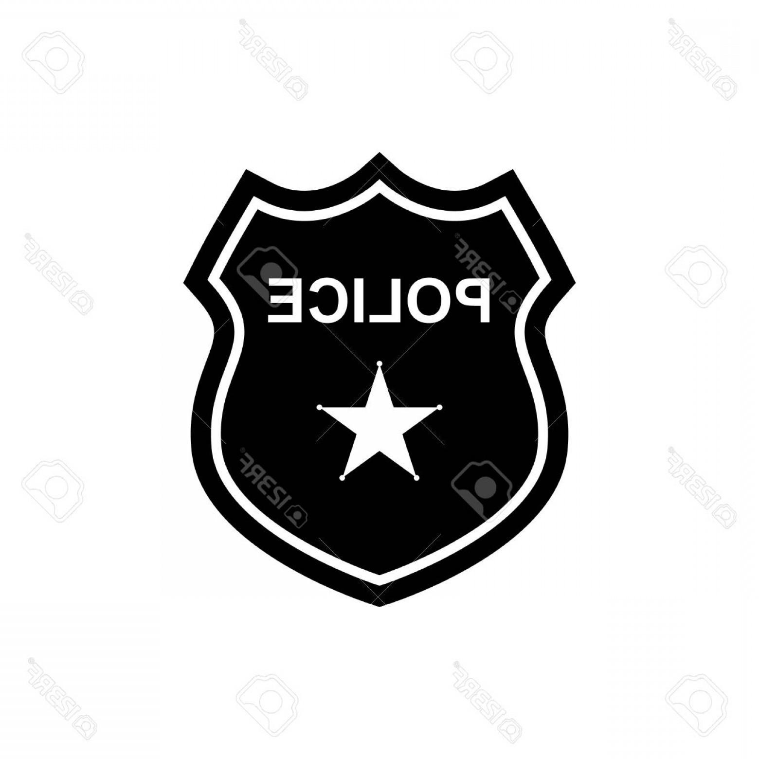 1560x1560 Photostock Vector Police Badge Icon In Flat Design Silhouette