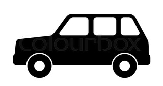 320x170 Silhouette Of A Police Car. Vector Illustration. Stock Vector