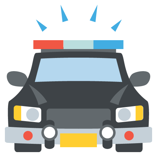 512x512 Oncoming Police Car Emoji Vector Icon Free Download Vector Logos