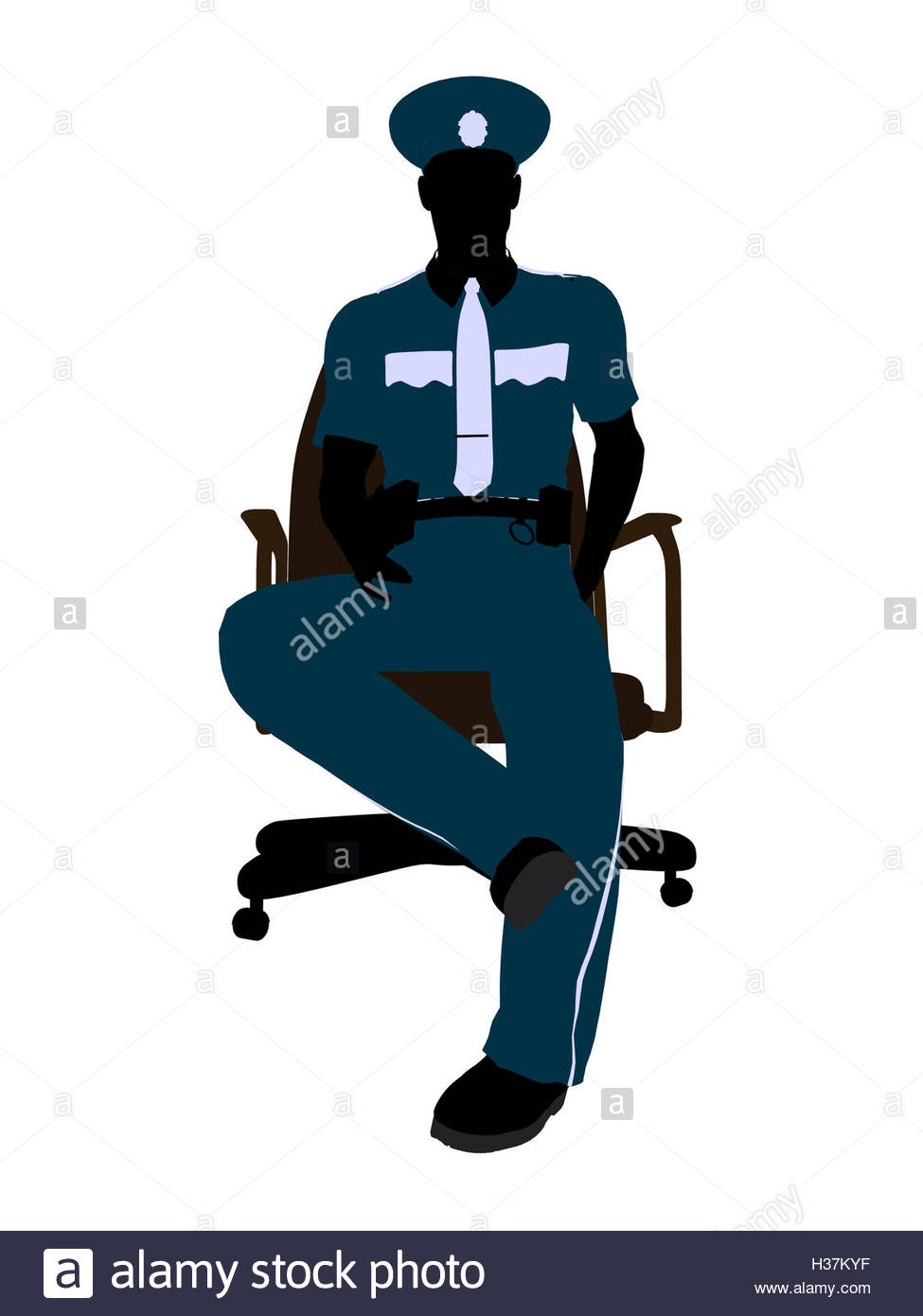 975x1390 Male Police Officer Sitting In A Chair Illustration Silhouette