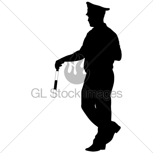 500x500 Black Silhouettes Of Police Officer With A Rod On White B Gl