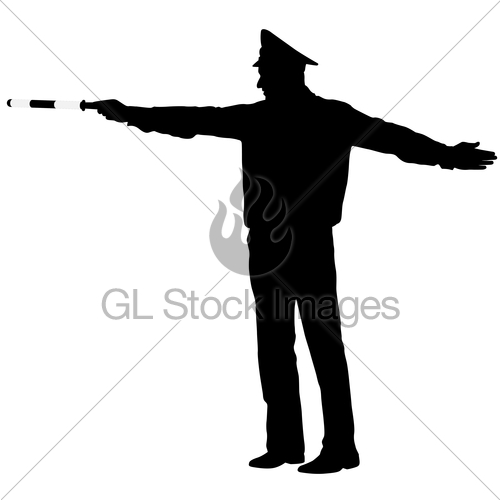 500x500 Black Silhouettes Police Officer With A Rod On White Back Gl