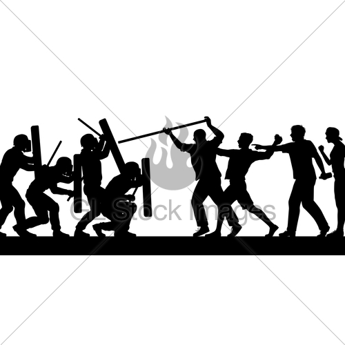 500x500 Mob Fighting Police Silhouette Gl Stock Images