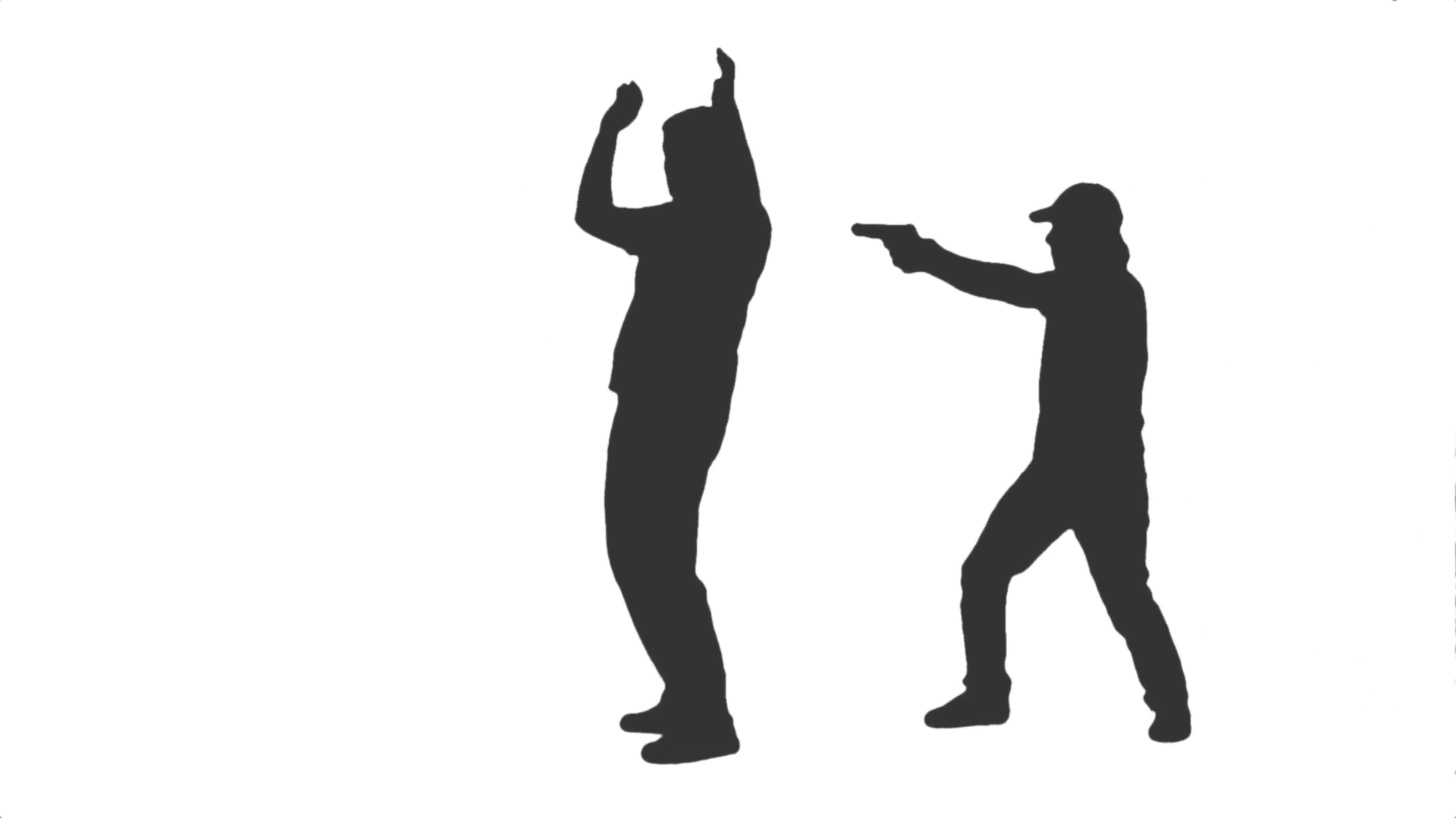 1920x1080 Silhouette Of A Male Person Arrested By Police Officer. Side View