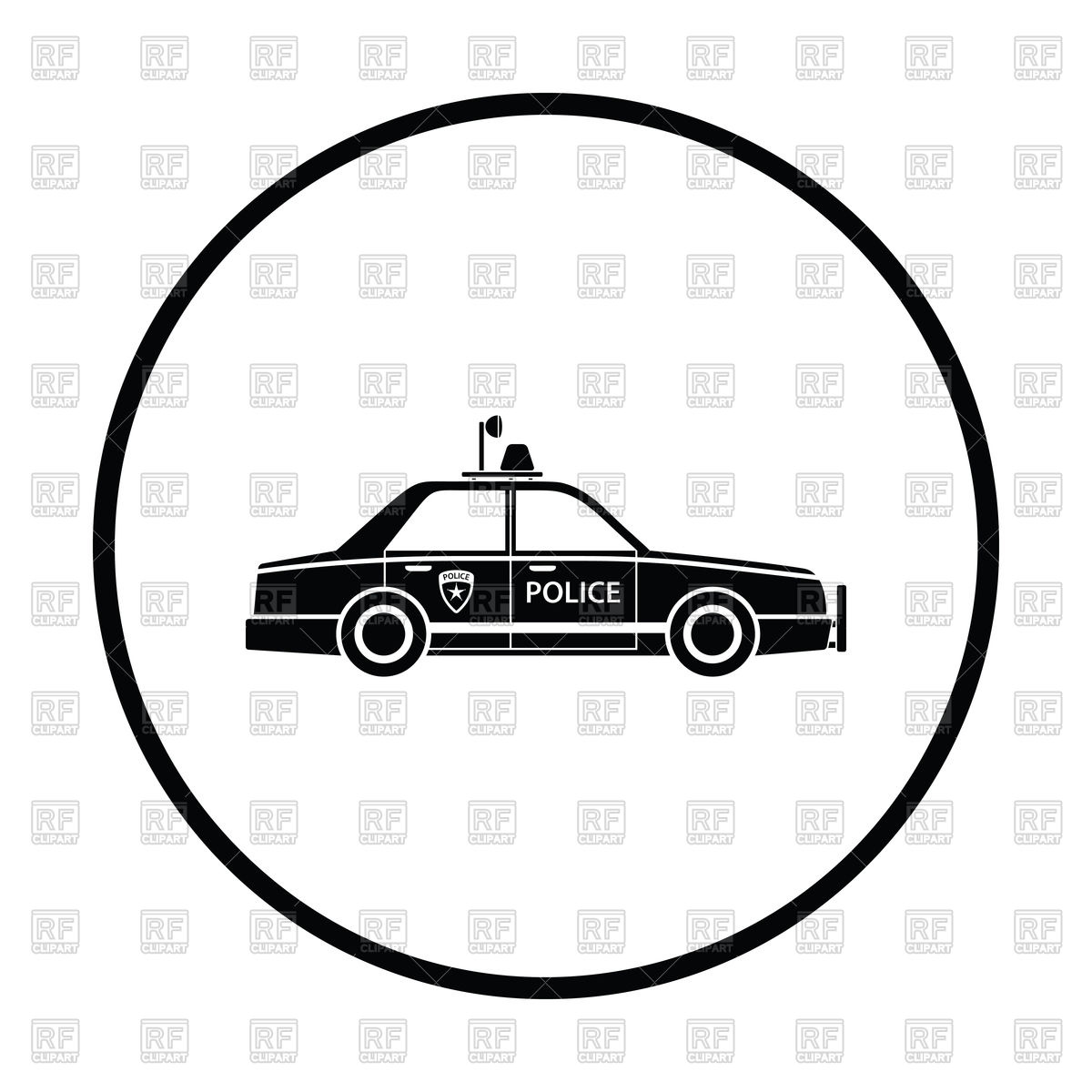 1200x1200 Police Car Icon With Circle Frame Royalty Free Vector Clip Art