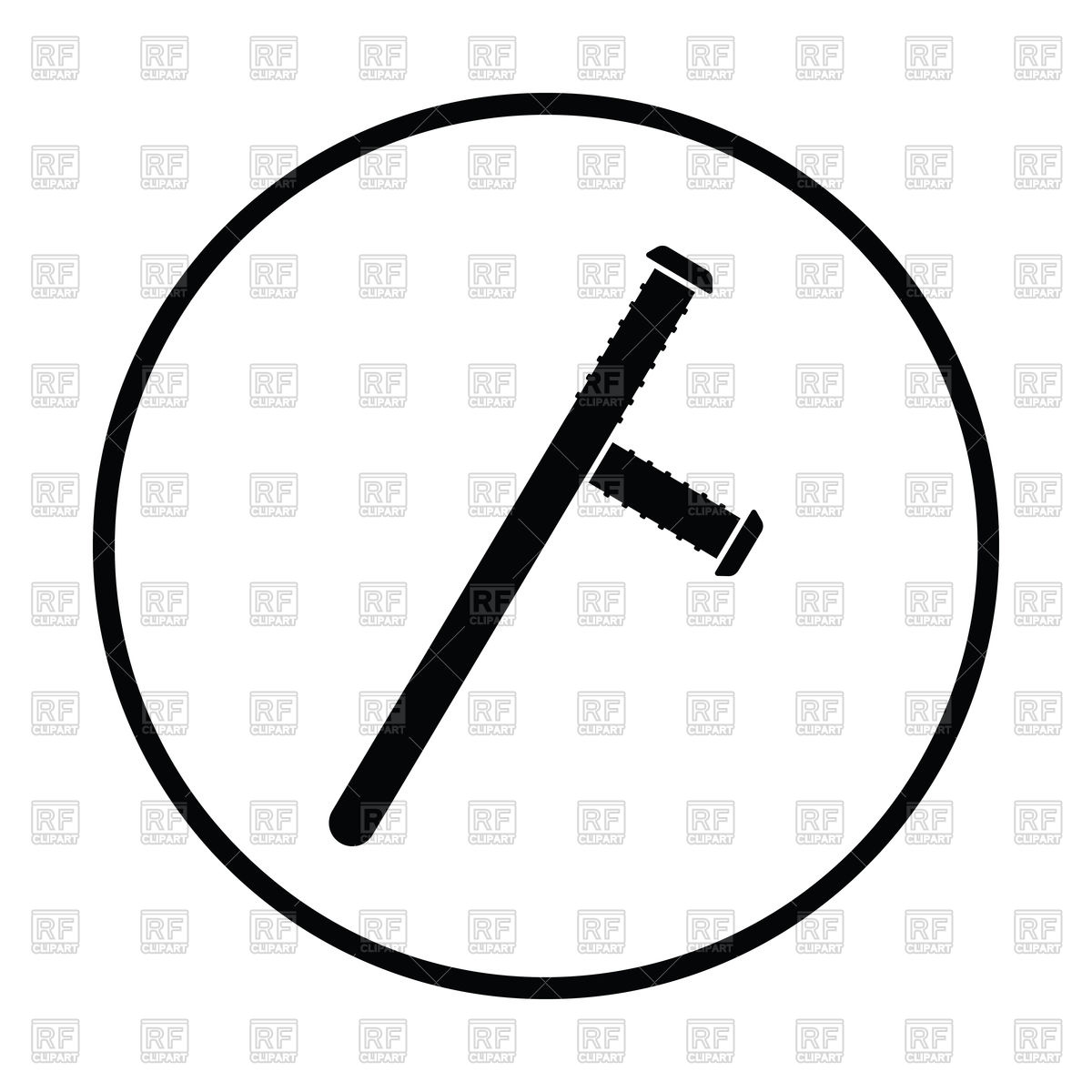 1200x1200 Silhouette Of Police Baton Icon Royalty Free Vector Clip Art Image