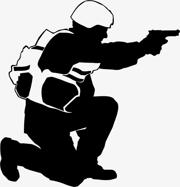 610x633 Black Armed Police Figure Silhouette, Black, Business, Silhouette