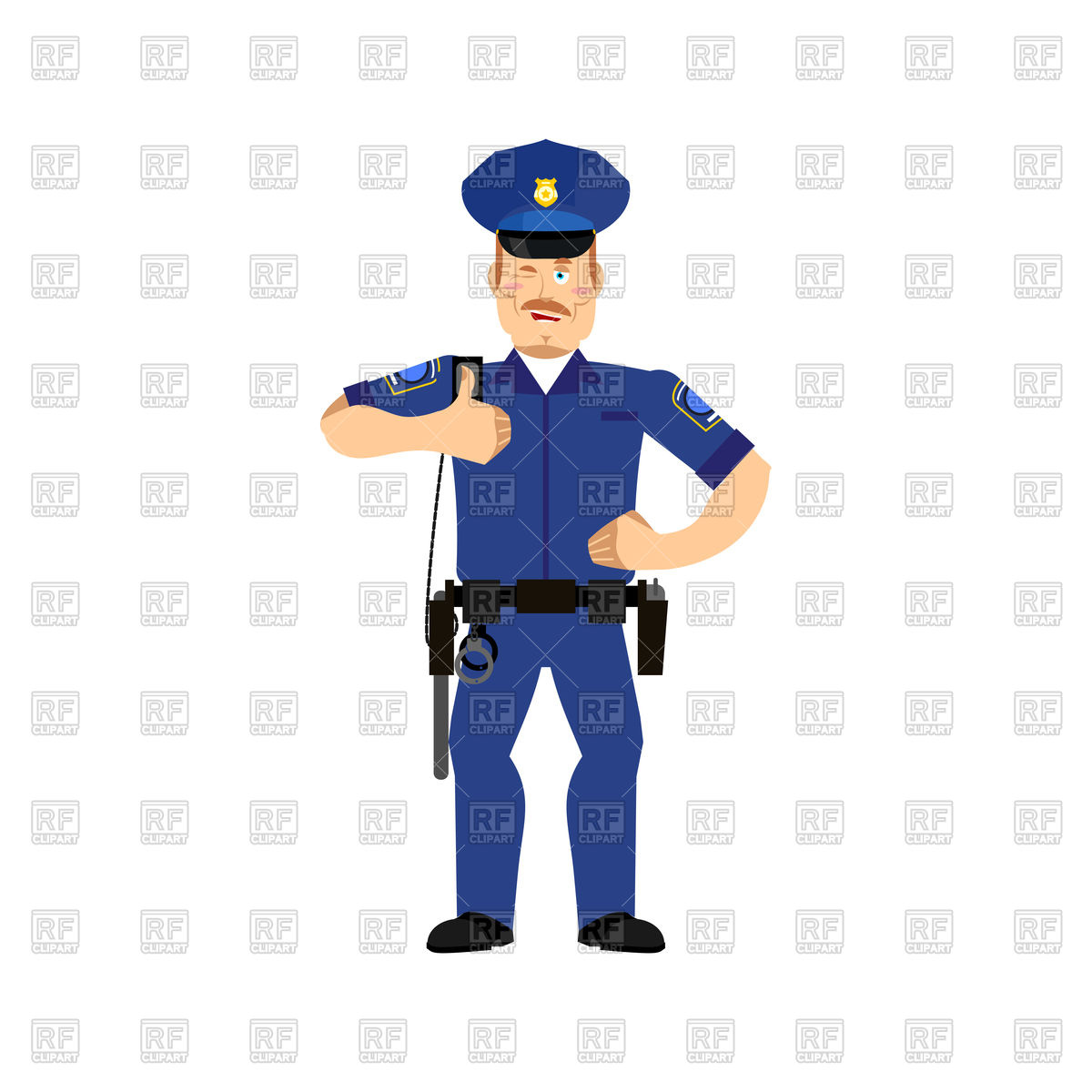 1200x1200 Cheerful Police Officer Wink Royalty Free Vector Clip Art Image