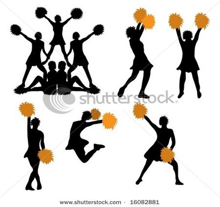450x424 Pictures Of Cheerleaders In Silhouette, Somewhat Orange Pom Poms